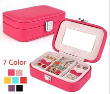 2014 NEW Fashion jewelry display Storage Box  High-grade leather jewelry sets box  Many color wholesale gift box earrings casket
