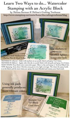 Tutorial for creating a Water Color background using an Acrylic Block. Made with the Touches of Texture and Wetlands Stamp Sets. Handmade, DIY cards and tutorial created by Melissa Kerman, Stampin' Up! demonstrator since 2003.