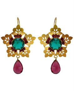 Lovely bohemian earrings ~ RAAHI Inspired from Marrakesh lanterns, these intricately detailed statement pieces are dipped in gleaming gold, ignited by starbursts of shimmery stones by Studio Azurra