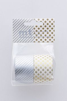 mt Washi Masking Tape - Silver Stripes & Gold Spots - Wide Set 2 - H. $12.00, via Etsy.