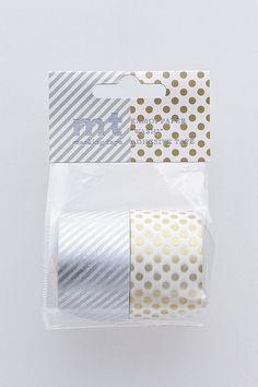 mt Washi Masking Tape - Silver Stripes & Gold Spots - Wide Set 2 - H. $12.00, via Etsy.