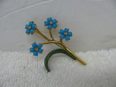 Vintage MMA Metropolitan Museum of Art Blue Enamel Flowers Brooch Pin #MMA