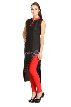It's a party wears fashionable fitted kurti in V shaped style with black and orange color mostly Indian girls wear these types of kurti or chic girls prefers to wear for showing good impressions. #craftsofindia #indianhandicrafts #madeinindia #craftsbazaar #artsandcrafts #handmade