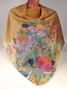 Silk scarf Autumn Flowers  Batik handpainted on silk by lavanita, $129.00