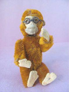 Vintage SCHUCO Yes/No Nodder Monkey with Glasses Cinnamon Mohair  #Schuco