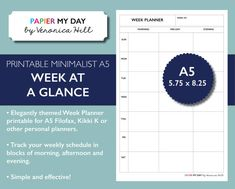 A5 Filofax Week at a Glance - Week on one Page - Minimalist Design - A5 Planner Printables