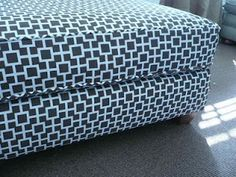 How To: Reupholster Ottoman - Make-over for our current ottoman for Ashley to use in her room for end of the bed toy box.