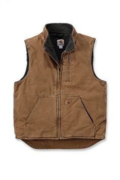 Carhartt Mock-Neck vest, great for layering, Made of 12-ounce, 100 cotton sandstone duck and features a sherpa lining http://www.oceansuppliesltd.com/store/p34/Carhartt_V33Sandstone_Mock_Neck_Vest_.html