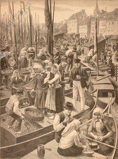 """""""Die Litauer auf dem Pregel in Königsberg"""". Holzstich, 1890, nach Zeichnung von Walter Busch (geb. 1859). Zeitschriftenillustration. (Ausriß; bibliographische Angaben nicht rekonstruierbar)."""