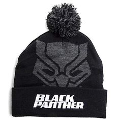 9b2e9e29962 Marvel Black Panther Beanie Knit Hat Cap with Pom Pom Black