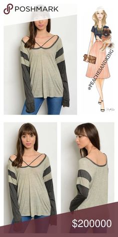 """Taupe & Gray Crossover Long Tee Here is a new take on the classic Long Sleeve Tee...the crossover taupe and gray tee.  Scoop Neck with crosses front detail and long sleeves.  100% rayon.  Length 27"""".  Bust (S) 34"""", (M) 36"""" (L) 38.  Size medium modeled on size 6/8 dress figure. Tops Tees - Long Sleeve"""