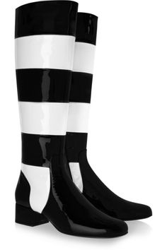 SAINT LAURENT Striped patent-leather knee boots