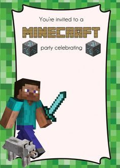 MINECRAFT PARTY - Specially designed invites and party decorations.