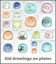 Kid drawings turned into one of a kind keepsakes.    Kid drawings are turned into decals and added onto handmade plates by Emily Murphy Pottery and then fired (for the 3rd time) again.  The results are a moment captured in time that are microwave and dishwasher safe!   These plates were an activity/ gift bag gift/ thank you gift for the artist's daughter's 5th birthday party.
