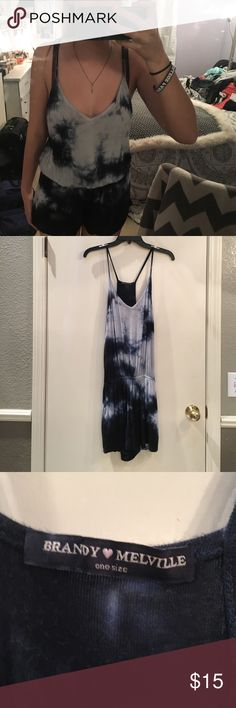 Tie dye romper Blue tie dye romper. Barely worn. Great condition. Supper comfortable. Brandy Melville Dresses