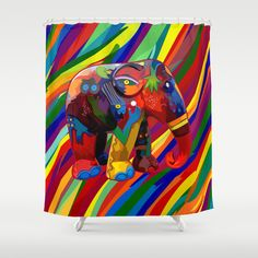 Full color abstract Elephant Shower Curtain $68.00  #Aztec #Aztecpattern #elephant #thailandelephant #fullcolor #abstract #art #painting #digitalpainting #floral #animals #Showercurtain