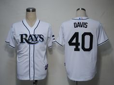Rays #40 Wade Davis White Cool Base Embroidered MLB Jersey! Only $18.50USD