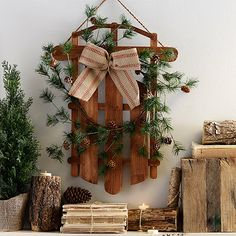 Sled and Pine Wreath