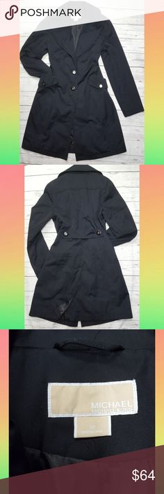 Michael Kors Black Trench Coat Used but still in good condition. Has two missing buttons (shown in pictures) at the top and bottom of the front closure but still closes and looks nice. Some signs of wear at edges. Overall beautiful coat and very comfy. Has nice deep pockets in front. Michael Kors Jackets & Coats Trench Coats