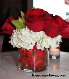 What a neat way to incorporate strawberries into a centerpiece!