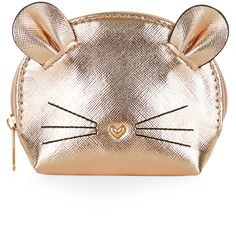 Accessorize Metallic Mouse Purse ($12) ❤ liked on Polyvore featuring bags, wallets, coin purse wallets, heart wallet, heart bag, coin purse and heart shaped bag
