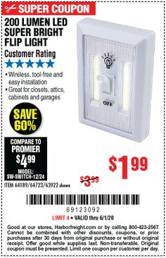 Harbor Freight Tools, White Light, Coupon Codes, Coupons, Bright, Led, Coupon
