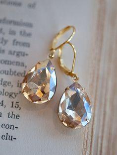 Bridal Earrings Champagne Earrings Gold Earrings by NotOneSparrow