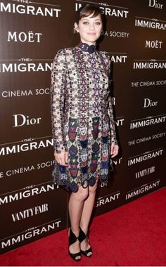 Marion Cotillard WHAT:  Mary Katrantzou dress WHERE:  At the Dior and Cinema Society screening of The Immigrant, New York City