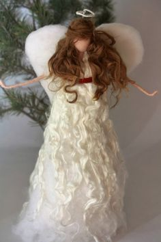 LARGE Needle Felted Angel Christmas Tree by TheMagicalToadstool