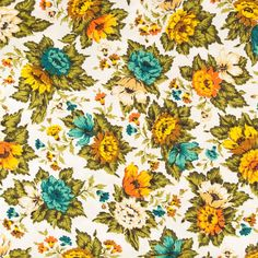 """#VintageFabricFloralUpholstery 10 Yds Mid Century 5th Avenue East Colors Craft 49"""" #5thAvenueMaterial"""