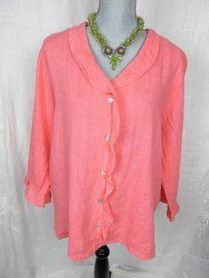 Hot Cotton Marc Ware L XL Top Pink Linen Ruffle Tunic Resort Wear Coral Shirt #linen#hotcotton#fashion#trend#style#marcware#deal