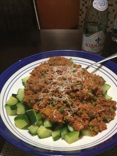 Veggie bolognese made with cauliflower and walnuts over zucchini. Yummy!