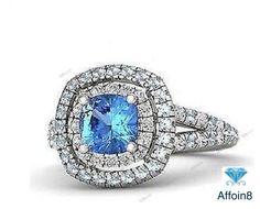 1.10 CT Cushion Cut Blue Sapphire 925 Silver Disney Princess Cinderella Ring 5 6 #Affoin8 #WomensDisneyPrincessCinderellaRing