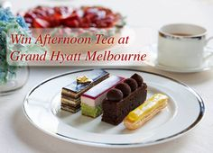 Win: Afternoon Tea at Grand Hyatt Melbourne Enter: www.highteasociety.com Afternoon Tea at Grand Hyatt is the perfect end to a day of shopping or to celebrate with friends and family!