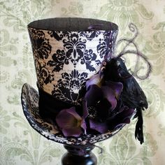 Gothic Mini Top Hat,Edgar Allan Poe Fascinator with Raven,Purple Striped Halloween Mini Hat with Crow,Gothic Mini Top Hats-Ready to Ship Steampunk Top Hat, Victorian Steampunk, Steampunk Clothing, Steampunk Fashion, Gothic Fashion, Steampunk Costume, Victorian Fashion, Fashion Fashion, Madd Hatter