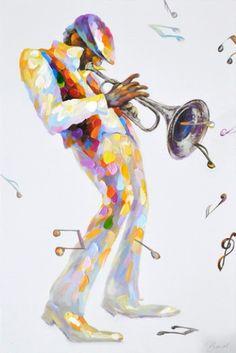 schilderij muzikant 60x90