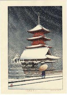 Hasui Kawase - Neige au sanctuaire de Ueno Toshogu 1929 Plus