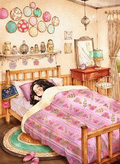 Aeppol, illustrator art * children forest girl, art girl, an Girl Sleeping, Forest Girl, Illustration Girl, Anime Art Girl, Cartoon Art, Cute Drawings, Cute Wallpapers, Cute Art, Design