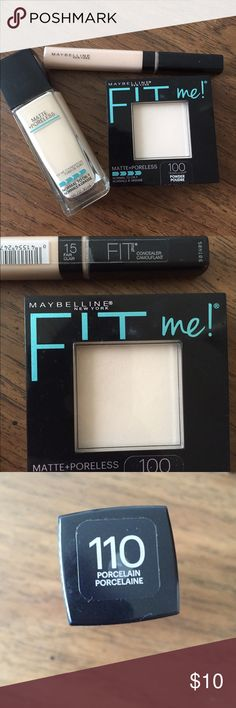 Maybelline fit me set Fit me foundation for normal/oily skin in 110 ivory. It is the lightest shade with neutral undertones. Fit me concealer in 15 fair. Fit me powder in 100 translucent, also for normal/oily skin. Maybelline Makeup