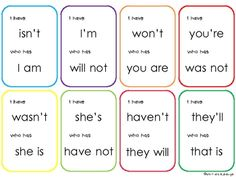 Includes blank cards to add your own contractions. Grammar And Punctuation, Teaching Grammar, Spelling And Grammar, Teaching Reading, Teaching English, Learning, 2nd Grade Ela, 2nd Grade Reading, Grade 3