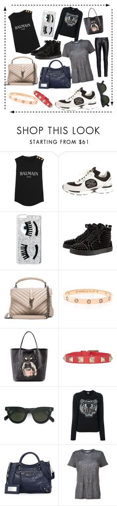 """- April Must Have -"" by cc-gg ❤ liked on Polyvore featuring Balmain, Chanel, Chiara Ferragni, Christian Louboutin, Yves Saint Laurent, Cartier, Givenchy, Valentino, CÉLINE and Kenzo"