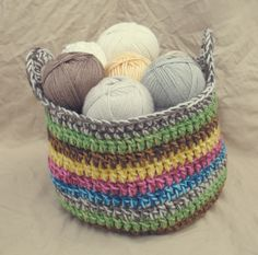 Crochet Yarn Basket | Gleeful Things