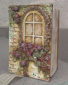 Diy Arts And Crafts, Book Crafts, Clay Crafts, Mixed Media Canvas, Mixed Media Art, Decoupage Box, Ideias Diy, Box Art, Clay Art