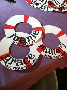 Life preserver name tags for seating, beverages, etc.