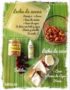 Leche de coco y leche de avena Healthy Nutrition, Healthy Drinks, Healthy Life, Healthy Recipes, Healthy Food, Smoothies, Happy Drink, Coconut Milk, Natural