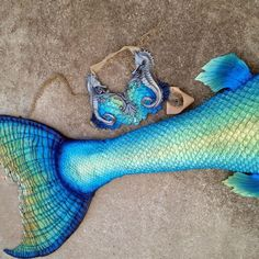 Original silicone mermaid tail and top design and created by Mermaid Raven of Merbella Studios! Features a tropical colour scheme with merbella scales and a custom silicone Atlantis scale bra with additional seahorse halterneck!