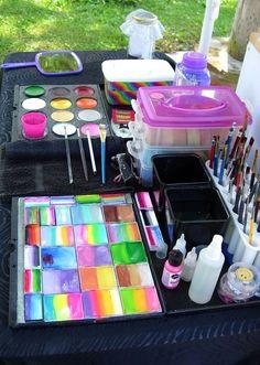 Face painting kit set up