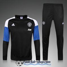 Nouveau Survetement de foot Enfant Manchester United Noir/Bleu 2016 2017