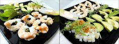 Ensalada de langostinos, bacalao al pimentón, aguacate con vinagre de módena y alcaparras.