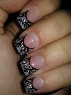 Silver Damask Nails. I'd get white instead of sparkly silver though